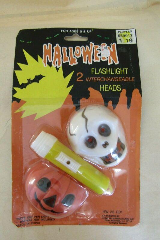 VTG 1980s Halloween Mini Flashlight 2 Head Pumpkin & Skull NOS MOC Unused