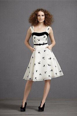 BHLDN Anthropologie Black & White Floating Flock Bird Dress Pocket Size 0-8 $350