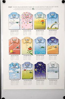 Original Werbe-Plakat LACOSTE-1987 Kalender, Vintage Poster, Affiche Ancies
