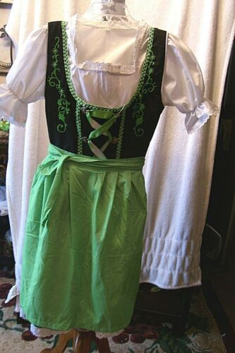 Sz 4.Germany,German,Trachten,Oktoberfest,Dirndl Dress,3-pc.Greens,Embroidered