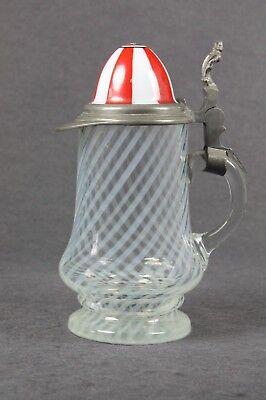 0,3L Bierkrug Glas Krug Jockey Helm um 1900