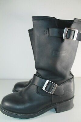 XELEMENT Womans BLACK LEATHER DOUBLE BUCKLE BOOTS Size 8 Med