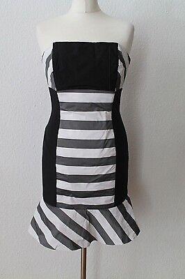 Kleid Etuikleid Trägerlos gestreift schwarz weiß Cocktail Abendkleid Gr.34 Weiß Trägerlos Cocktail