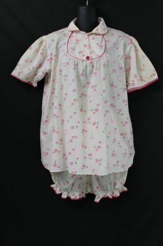 Vintage Pr Cotton Cherry Print Baby Doll Pajamas Wms Sz M/L