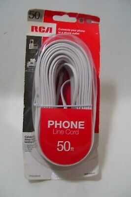 White Telephone Landline Extension Cord 50ft RCA Connects Ph