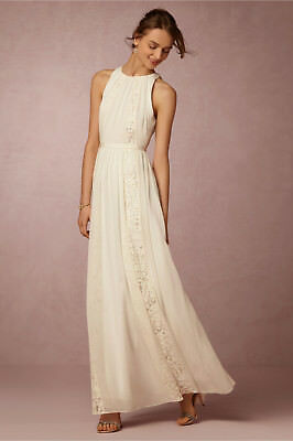 - NEW ANTHROPOLOGIE BHLDN $295 IVORY CHANDLER LACE INSET DRESS BY BAILEY 44 SZ M