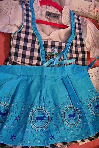NEW! Girls,Kids,US sz 2T,Germany,Trachten,Oktoberfest,Dirndl Dress,3-pc.Blues