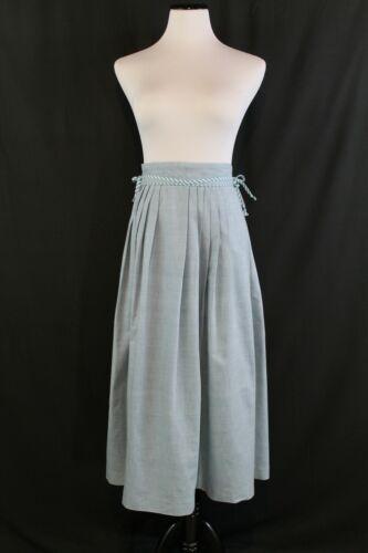 "VTG 1940s 50s Kerrybrooke Chambray Pleated Cotton Skirt RockABilly Swing W 28"""