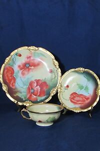 Antique Limoges Coronet Hand Painted Signed Plate Saucer Cup  Poppies Gold