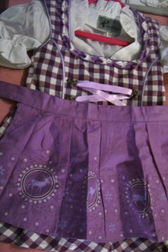 NEW!US SZ 2T,3-PC.Girls,Kids,Germany,Trachten,Oktoberfest,Dirndl Dress,Purple