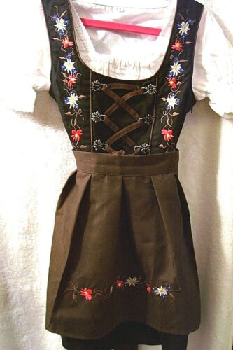 US sz 4,Girls,Kids Germany,German,Trachten,Oktoberfest,Dirndl Dress,3-pc.Browns