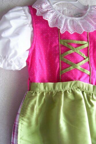 US Sz 1T,Girls,Kids Germany,Oktoberfest,Dirndl Dress,3-pc.Fuchsia,Green