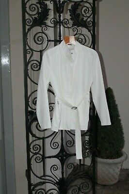 RP £95 iBlues Italian Designer Boutique Label Ivory Smart Belted Jacket UK 10