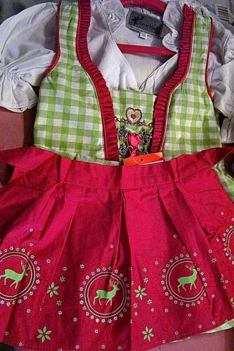 NEW!Girls,Kids,US sz 2T,Germany,Trachten,Oktoberfest,Dirndl Dress,3-pc.Fuchsia