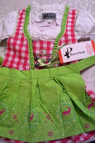 US SZ 2T,,3-PC.Girls,Kids,Germany,Trachten,Oktoberfest,Dirndl Dress,Red,Green