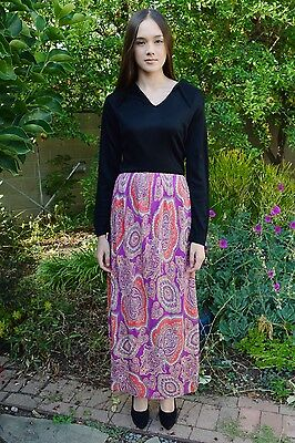 Vintage 1970s Sears Fashions Black Bodice Multicolored Paisley Mod Maxi Dress