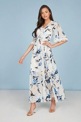 Long Blue Willow (Willow And Clay Zuma Duster Long Kimono Wrap Dress in Blue & White, XSmall, New)