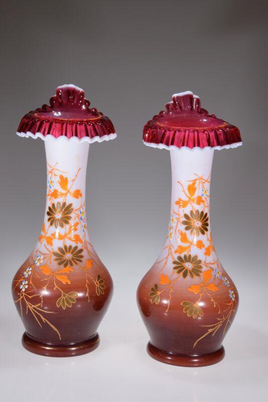 "11"" Hand Enameled Victorian Opaline Vases w/Cranberry Snow Crest Tulip Lips"