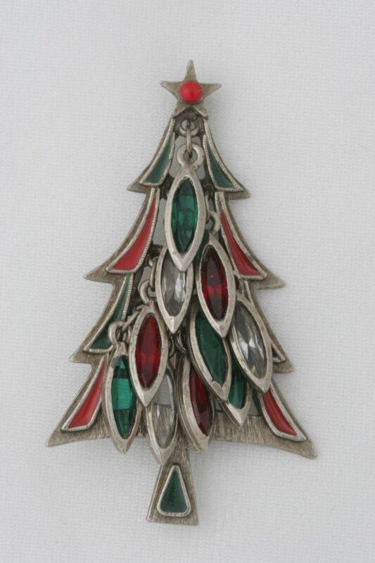 TANCER II Silvertone Enamel Dangling Navette Christmas Tree Pin SIGNED Bookpiece