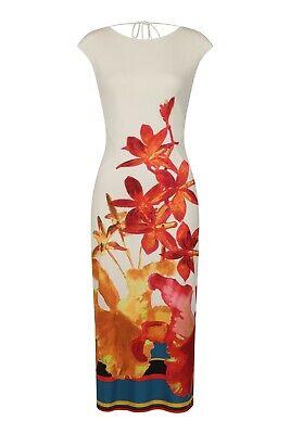 ISSA Women Ladies Eden Floral Dress Jersey Tie Belt Occasion Party Evening