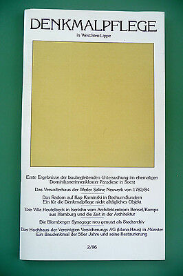 DENKMALPFLEGE in Westfalen-Lippe, 92 Seiten, 1996, diverse Aufsätze und Fotos
