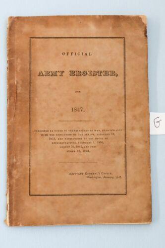 1847 US Army Register Civil War Lee Grant Jackson Sherman McClellan Longstreet