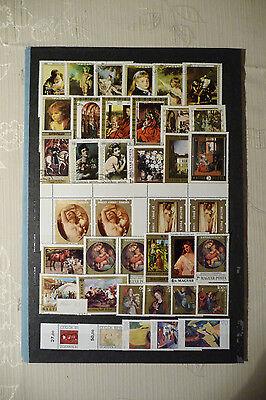 Briefmarken Motiv Gemälde, Sammlung weltweit (M2)