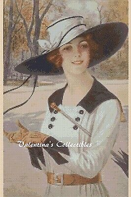 Victorian Lady with Large Hat Counted Cross Stitch COMPLETE KIT #1-298