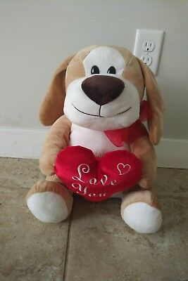 "Basset Hound Dog Plush Toy Heart Love You Gift Brown Cute Big Smile 15"" Tall NEW"