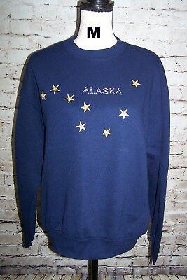 Christine Alexander Alaska Sweatshirt Women's Medium Navy Blue Rhinestones Stars