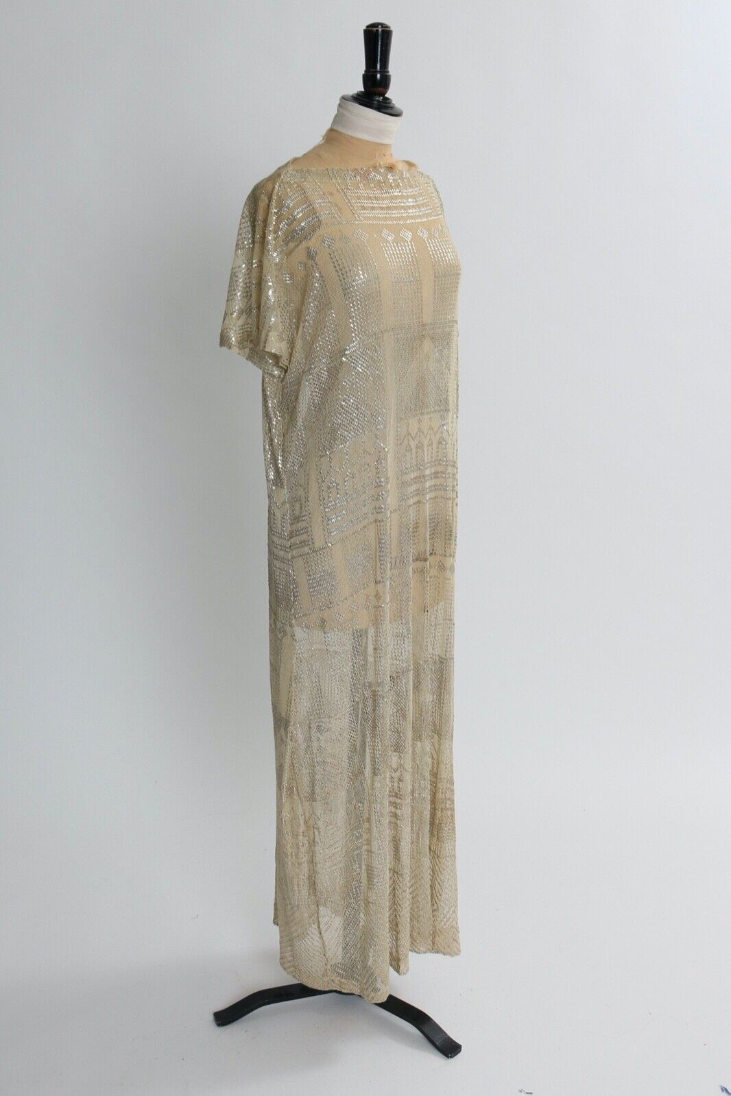 Vintage antique original art deco Assuit Egyptian metal and mesh dress 1920s L
