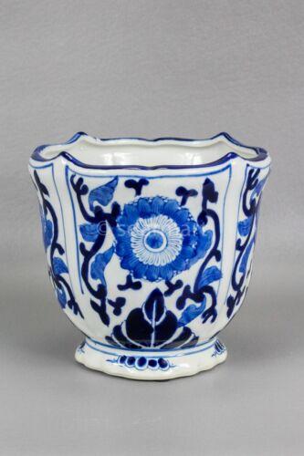 "Vintage Blue/White rounded floral Porcelain Pot Planter Ceramic 7"" X 7"""