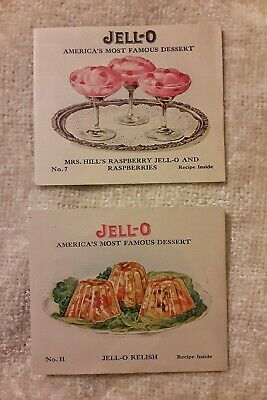 2 Vintage Old 1940's Small Recipe Cards for JELL-O JELLO Relish Pudding +