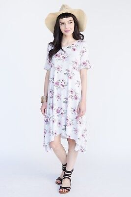 NWT!!!! Agnes and Dora - Silver and Mauve Floral JOPLIN DRESS - Size SMALL