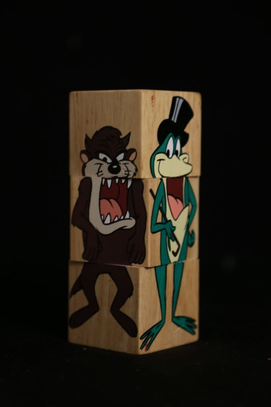 Looney Tunes Wooden Spinning Character Puzzle 1993 Marvin, Taz, Frog, Yosemite