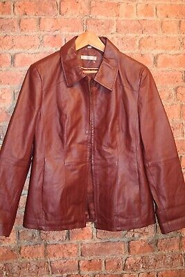 90s Womens Oxblood Red 100% Real Leather Jacket Size 16