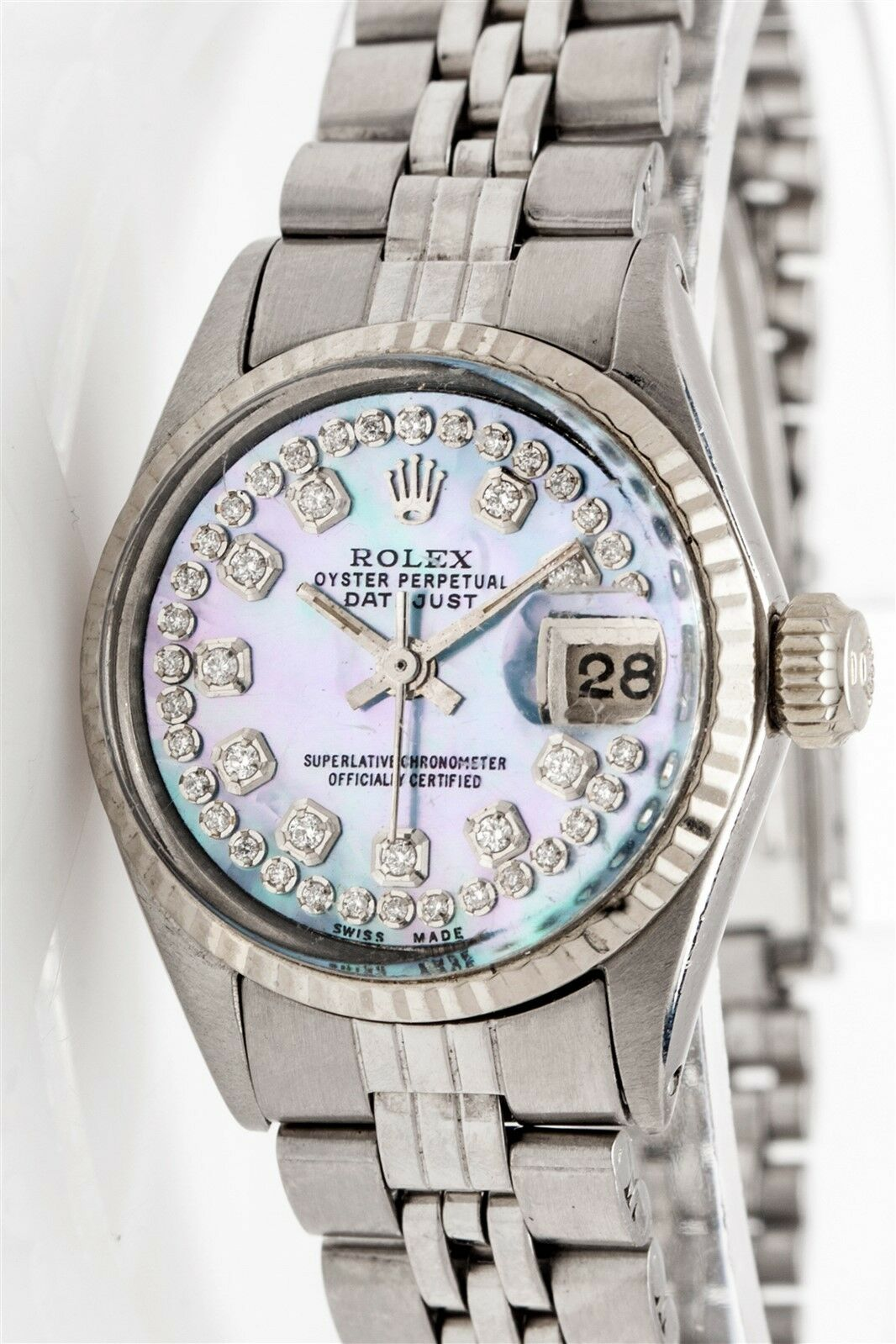$2435.00 - $7000 Genuine Blue Purple MOP Diamond SS 18k White Gold Ladies Datejust Rolex