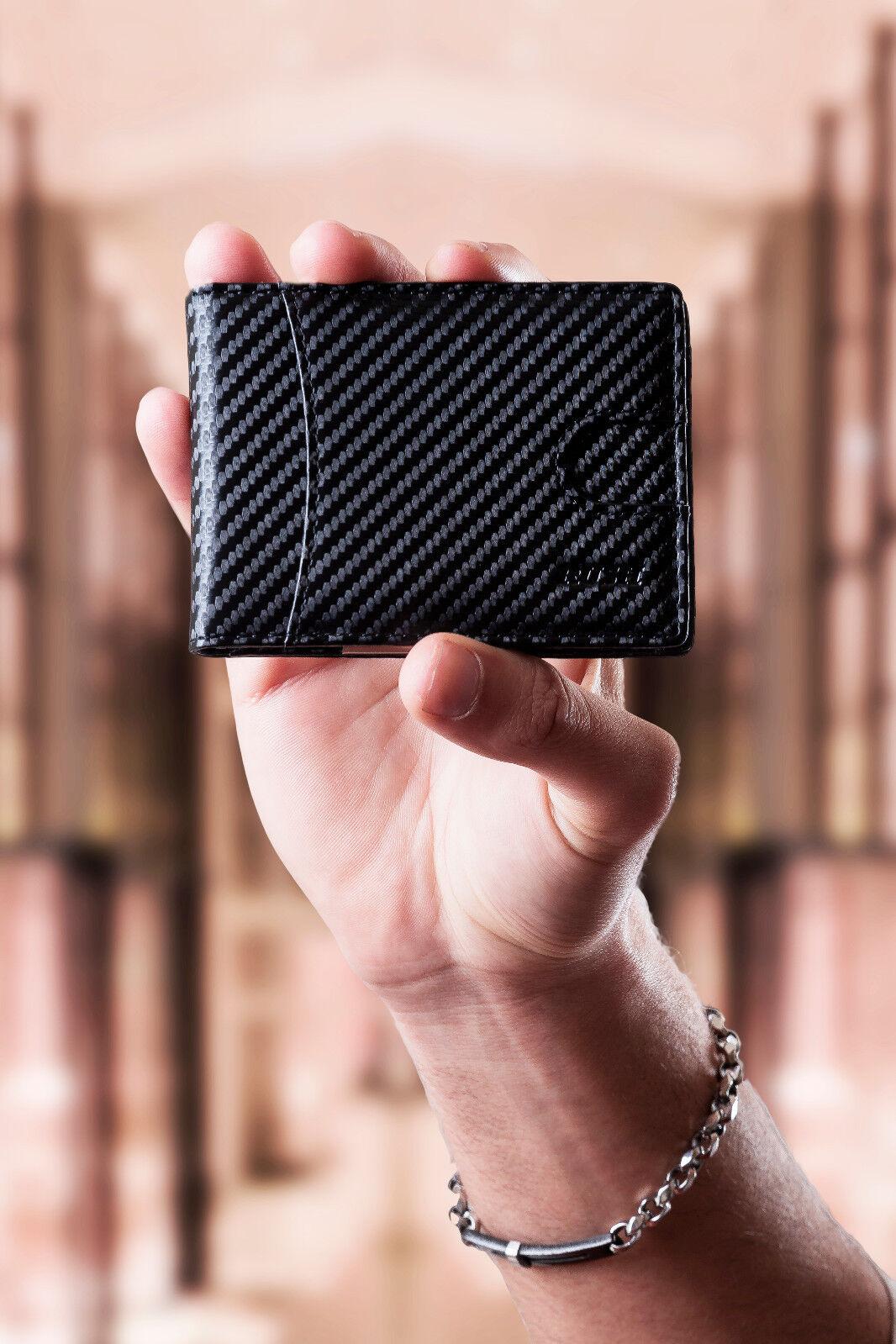 Portafoglio Uomo Porta Carte di Credito Slim Piccolo Sottile Zip RFID Fermasoldi
