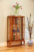 Antique Style Vintage Bow Front Astragal Glass Display Cabinet Williamstown Hobsons Bay Area Preview