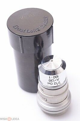 Leitz Leica 1001 100x A1.30 112 Oil Immersion Microscope Lens In Keeper