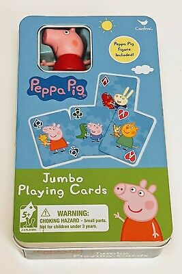 Peppa Pig Jumbo Cards & Special Figure in Collectible Tin by Cardinal NEW
