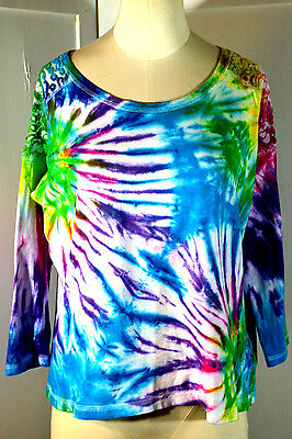 Tie Dye Knit Top Blouse Lace Inset M Hippy Boho Festival Hand Dyed