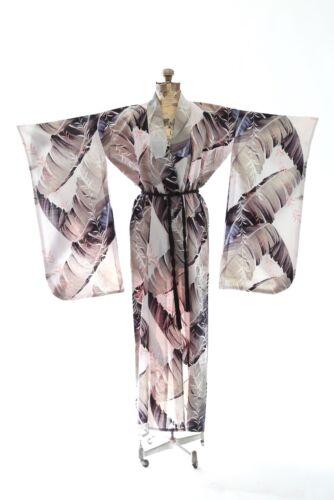Vintage 40s tropical Palm LEAF linen Japanese KIMONO wedding coat Jacket Robe