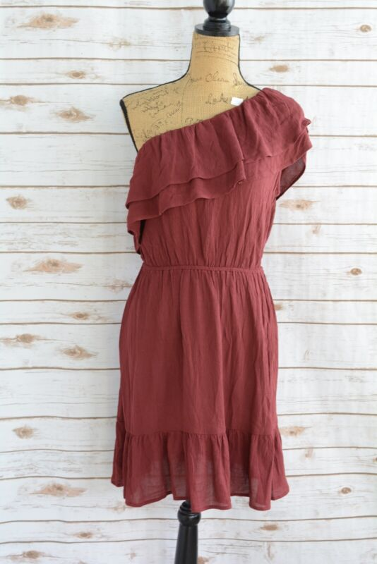 NWT Women/'s Mossimo One Shoulder Ruffle Dress Burgundy Sizes S L M XL /& XXL