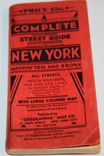 1941 COMPLETE STREET GUIDE to NEW YORK Manhattan and Bronx WITH MAP