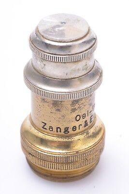 Zanger Endres 112 Oel Oil Immersion Antique Brass Microscope Lens 20mm Thread
