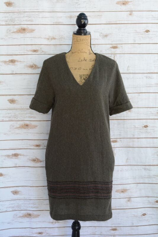 87d05fce9496 Massimo Dutti - Dark GREEN short sleeve WOOL blend V-neck shift shirt dress
