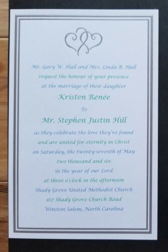 Personalized Silver Joining Hearts Invitation Wedding Anniversary Bridal Shower - $39.95