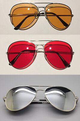 New Silver HD Aviator Colored Lens Glasses Sunglasses Metal Red Orange (Coloured Lens Glasses)