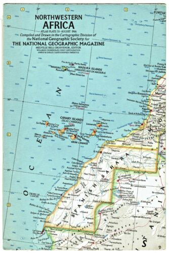 ⫸ 1966-8 August Vintage NORTHWESTERN AFRICA  National Geographic Map A3